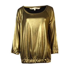 Rachel Roy Gold Foiled Shimmer Holiday Blouse